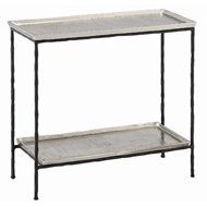 Currey & Company Home Boyles Silver Side Table 4000-0061 - Antique Silver/Black