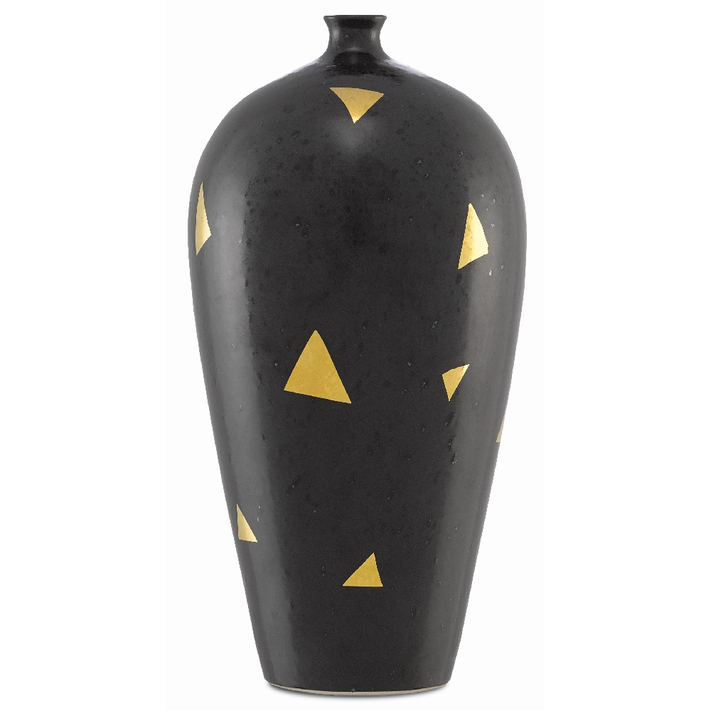 Currey & Company Home Gouden Small Vase 1200-0006 - Matte Black/Gold
