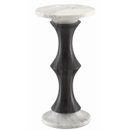 Currey & Company Home Jesper Black Drinks Table 3000-0111 - Black Marble/White Marble