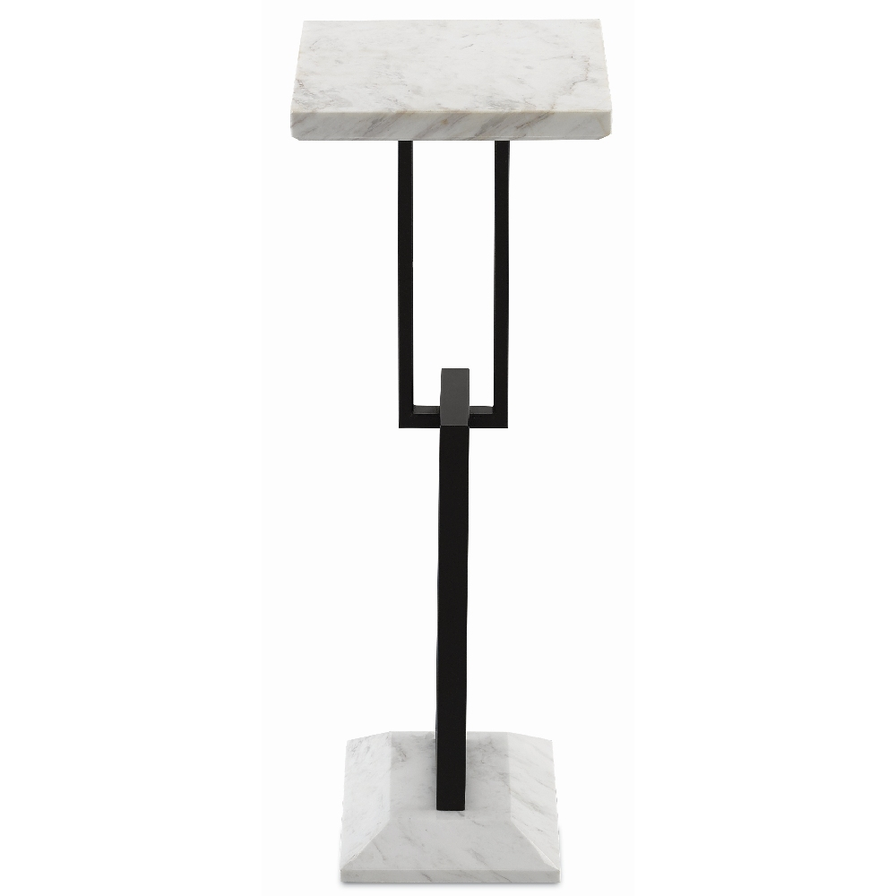 Currey & Company Home Menlo Drinks Table 4000-0055 - White Marble/Black