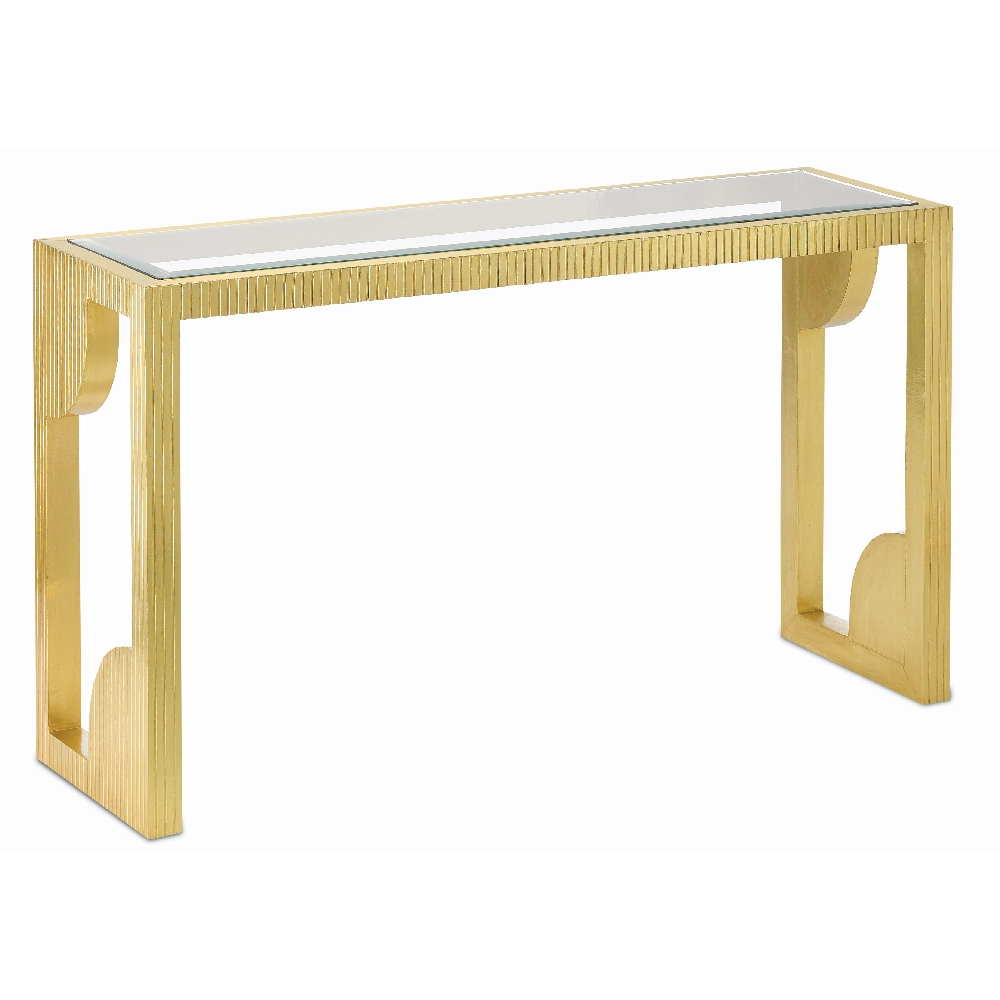 Currey company home morneau brass console table