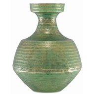Currey & Company Home Nallan Large Vase 1200-0022 - Antique Brass/Green