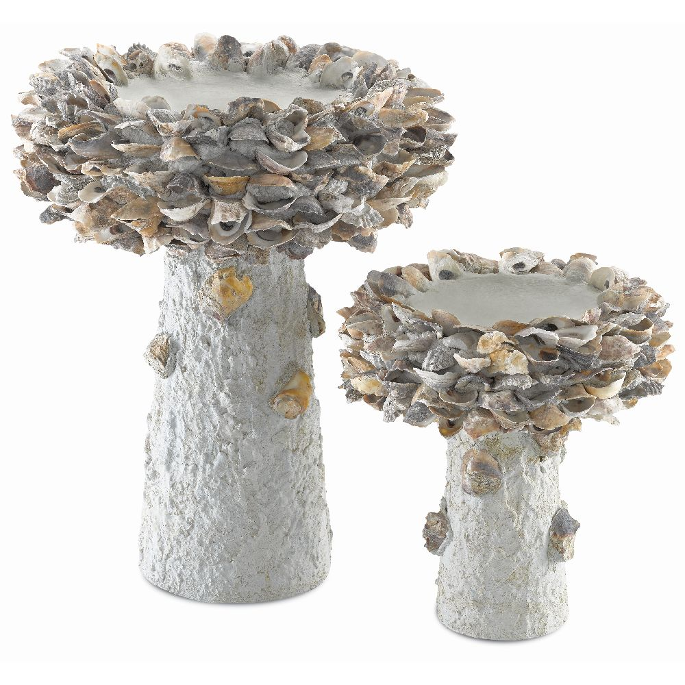 Currey & Company Home Oyster Shell Medium Bird Bath 1200-0053 - Natural