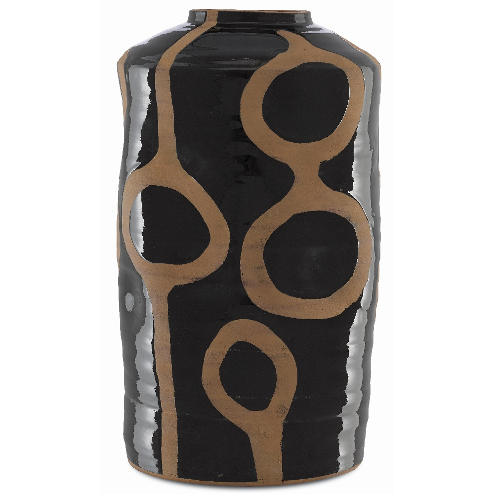 Currey & Company Home Riku Large Vase 1200-0013 - Black/Natural