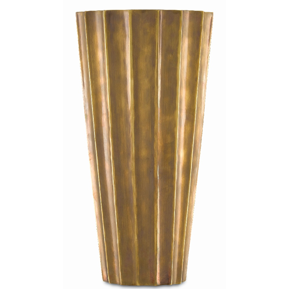 Currey & Company Home Sabine Small Fluted Vase 1200-0019 - Antique Brass