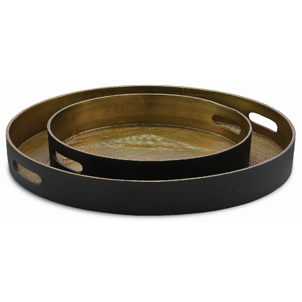 Currey & Company Home Thatcher Small Tray 1200-0026 - Antique Brass/Black