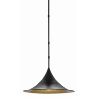 Currey & Company Lighting Aberfoyle Pendant 9000-0410 - Satin Black/Gold Leaf