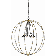 Currey & Company Lighting Anomaly Large Orb Chandelier 9000-0387 - Black Iron/Antique Gold Leaf