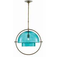 Currey & Company Lighting Astrid Pendant 9000-0413 - Antique Brass/Aqua