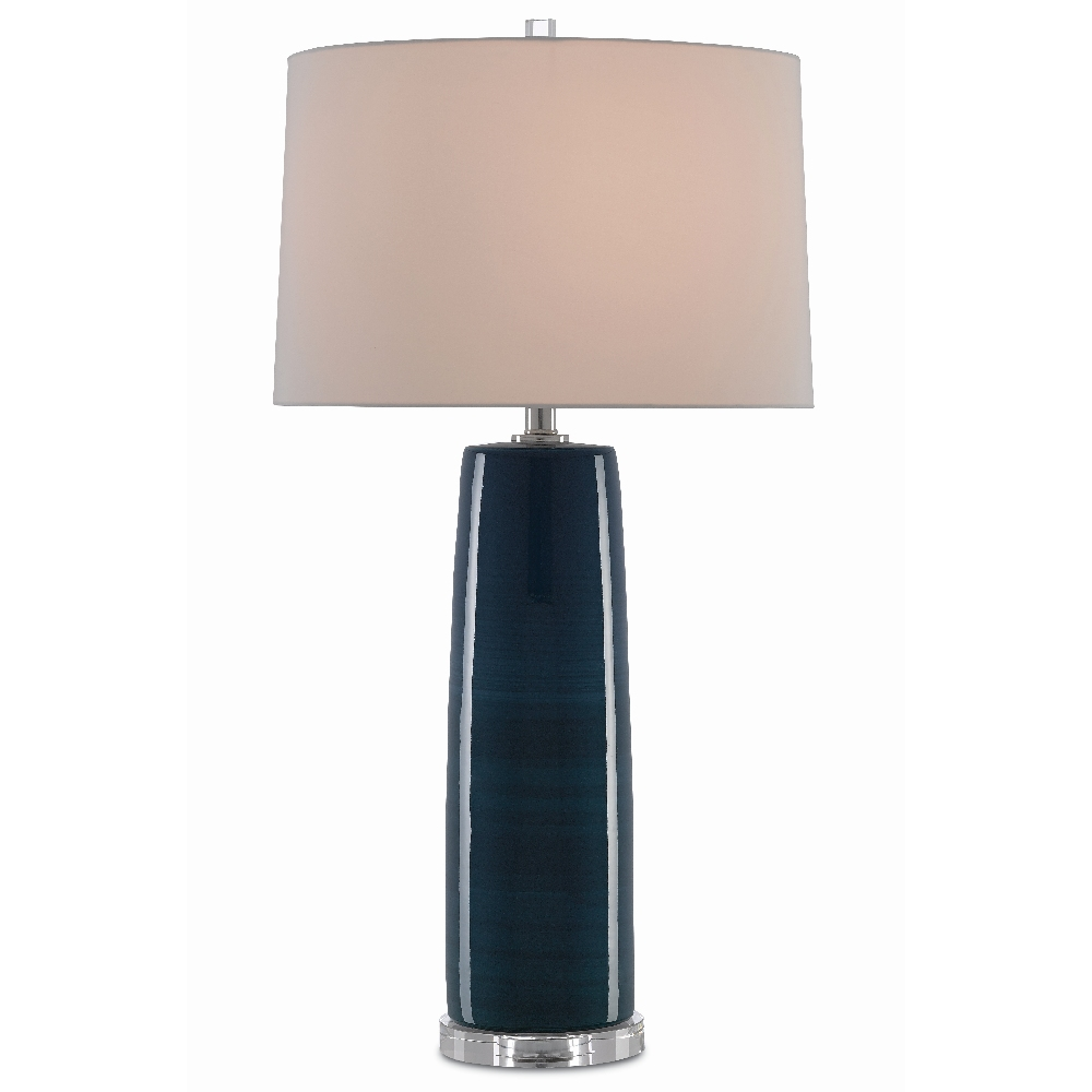 Currey & Company Lighting Azure Table Lamp 6000-0370 - Navy/Clear/Polished Nickel