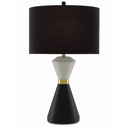 Currey & Company Lighting Cannes Table Lamp 6000-0408 - Ivory/Black/Brushed Brass