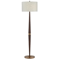 Currey & Company Lighting Colee Mahogany Floor Lamp 8000-0047 - Dark Mahogany/Antique Brass