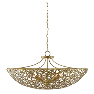 Currey & Company Lighting Confetti Bowl Chandelier 9000-0430 - Hand Rubbed Gold Leaf