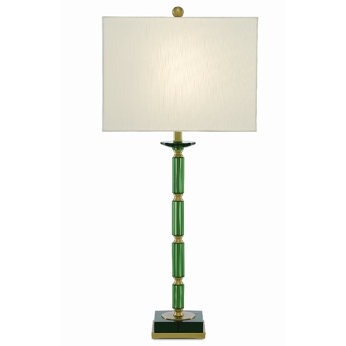 Currey & Company Lighting Copula Green Table Lamp 6000-0388 - Green/Light Antique Brass