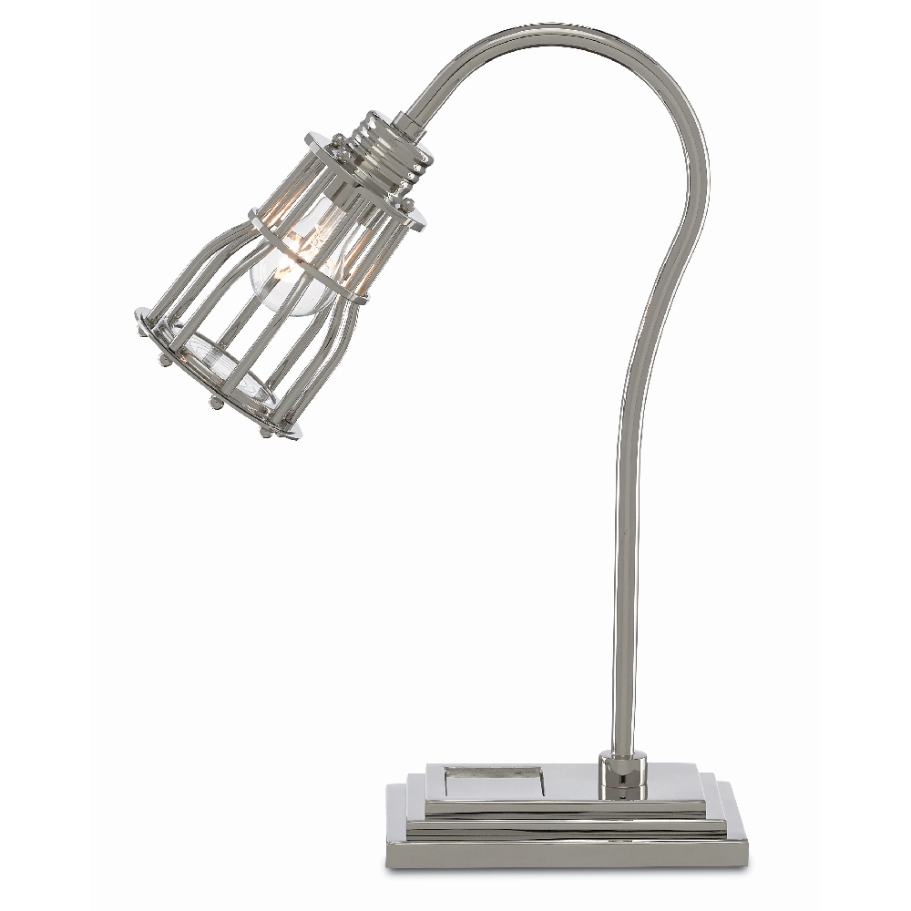 Currey & Company Lighting Davy Desk Lamp 6000-0384 - Polished Nickel/Clear