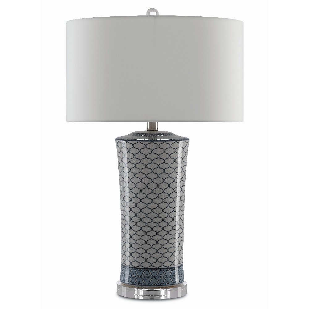 Currey & Company Lighting Delft Table Lamp 6000-0375 - Beige Crackle/Blue/Clear/Antique Polished Nickel