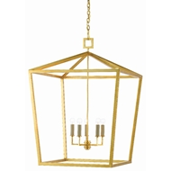Currey & Company Lighting Denison Gold Large Lantern 9000-0404 - Contemporary Gold Leaf