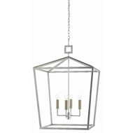 Currey & Company Lighting Denison Silver Small Lantern 9000-0415 - Contemporary Silver Leaf