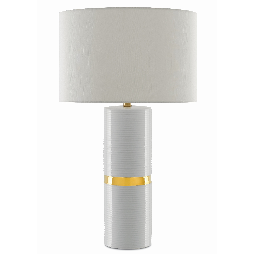 Currey & Company Lighting Enzo White Table Lamp 6000-0369 - White/Metallic Gold/Natural Brass