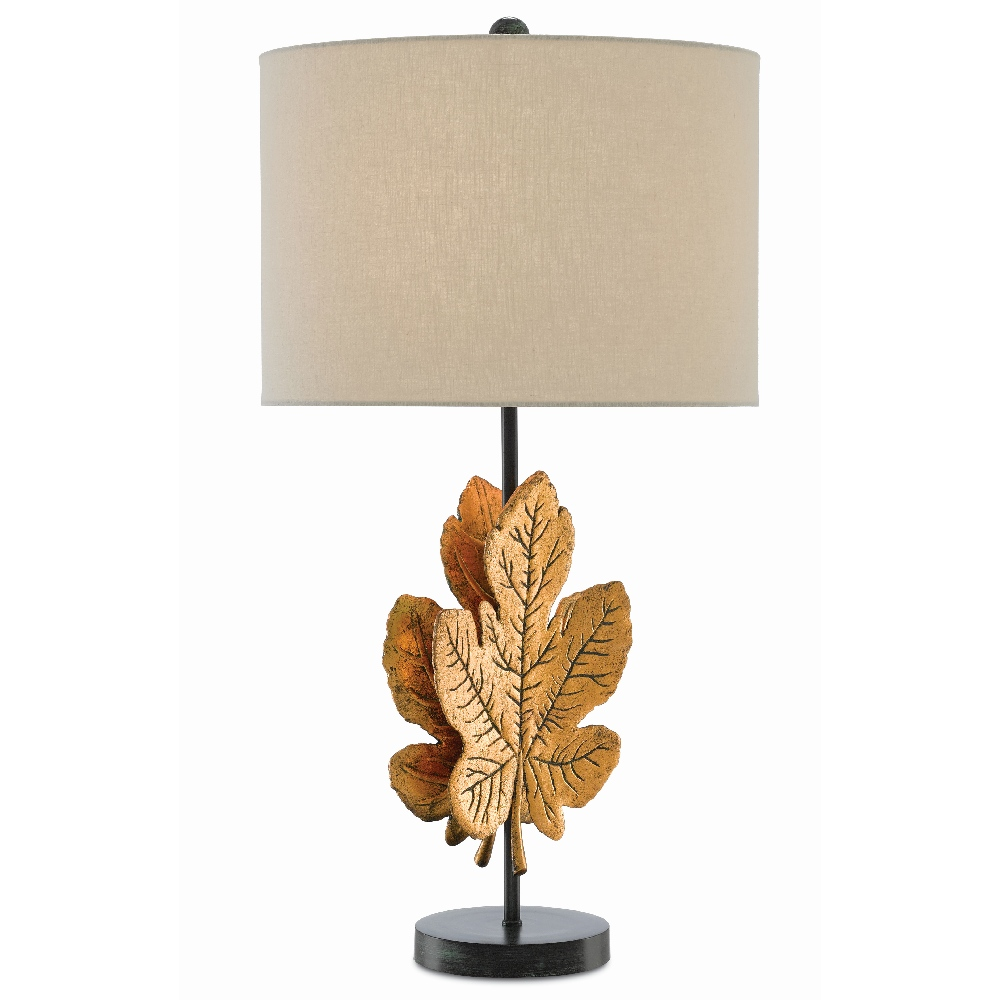 Currey & Company Lighting Figuier Table Lamp 6000-0393 - Brass Patina/Satin Black