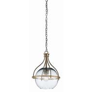 Currey & Company Lighting Foyle Pendant 9000-0382 - Antique Silver Leaf/Contemporary Gold Leaf/Recycled Glass