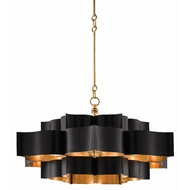 Currey & Company Lighting Grand Lotus Black Chandelier 9000-0429 - Satin Black/Contemporary Gold Leaf