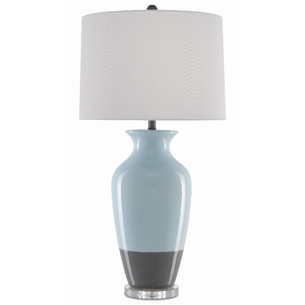 Currey & Company Lighting Henninger Table Lamp 6000-0382 - Pale Mint/Dove Gray/Clear