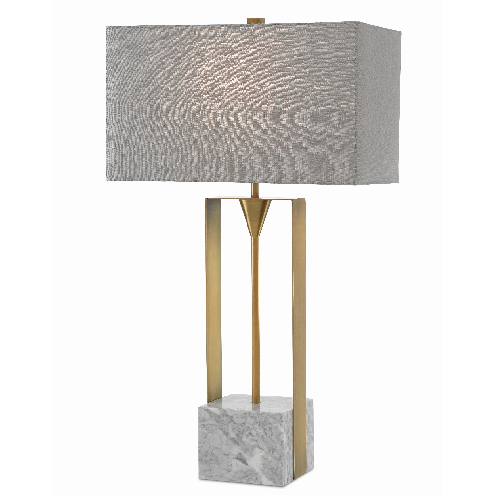 Currey & Company Lighting Imperium Table Lamp 6000-0392 - Light Antique Brass/White
