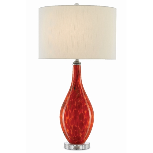 Currey & Company Lighting Lupo Red Table Lamp 6000-0343 - Mandarin Red/Clear/Satin Nickel