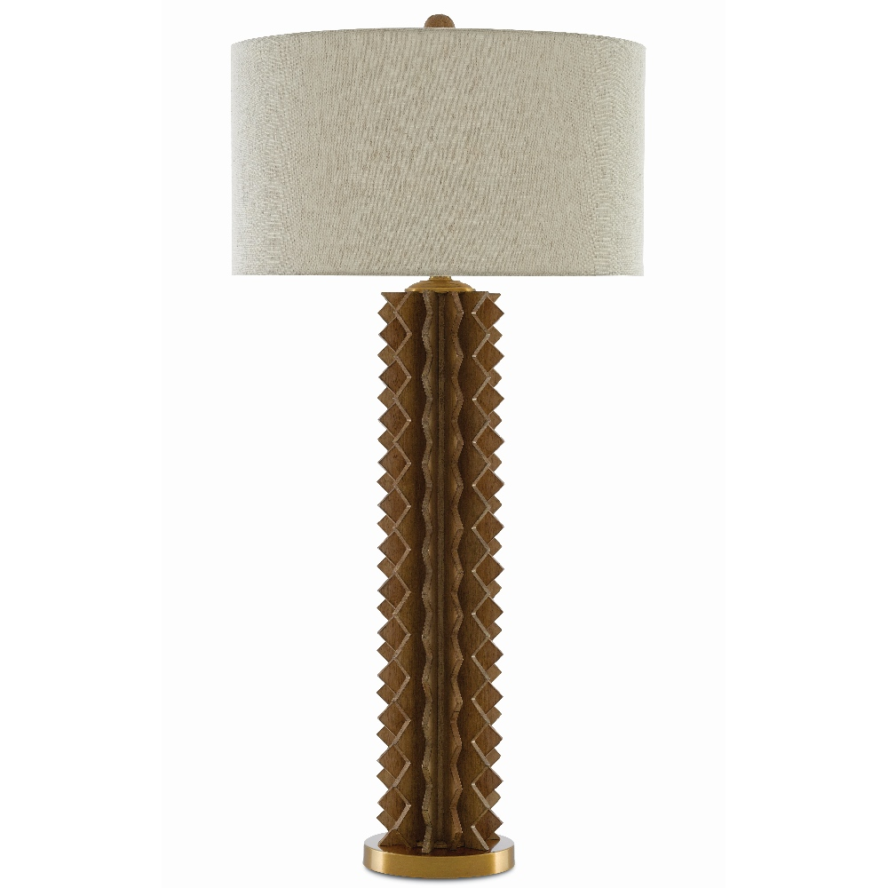 Currey & Company Lighting Mariazina Table Lamp 6000-0386 - Natural Wood/Satin Brass
