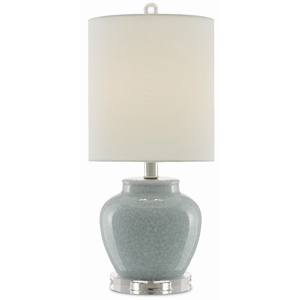 Currey & Company Lighting Marin Table Lamp 6000-0315 - Crackled Turquoise/Polished Nickel