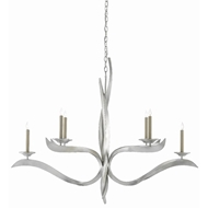 Currey & Company Lighting Paradigm Chandelier 9000-0391 - Contemporary Silver Leaf