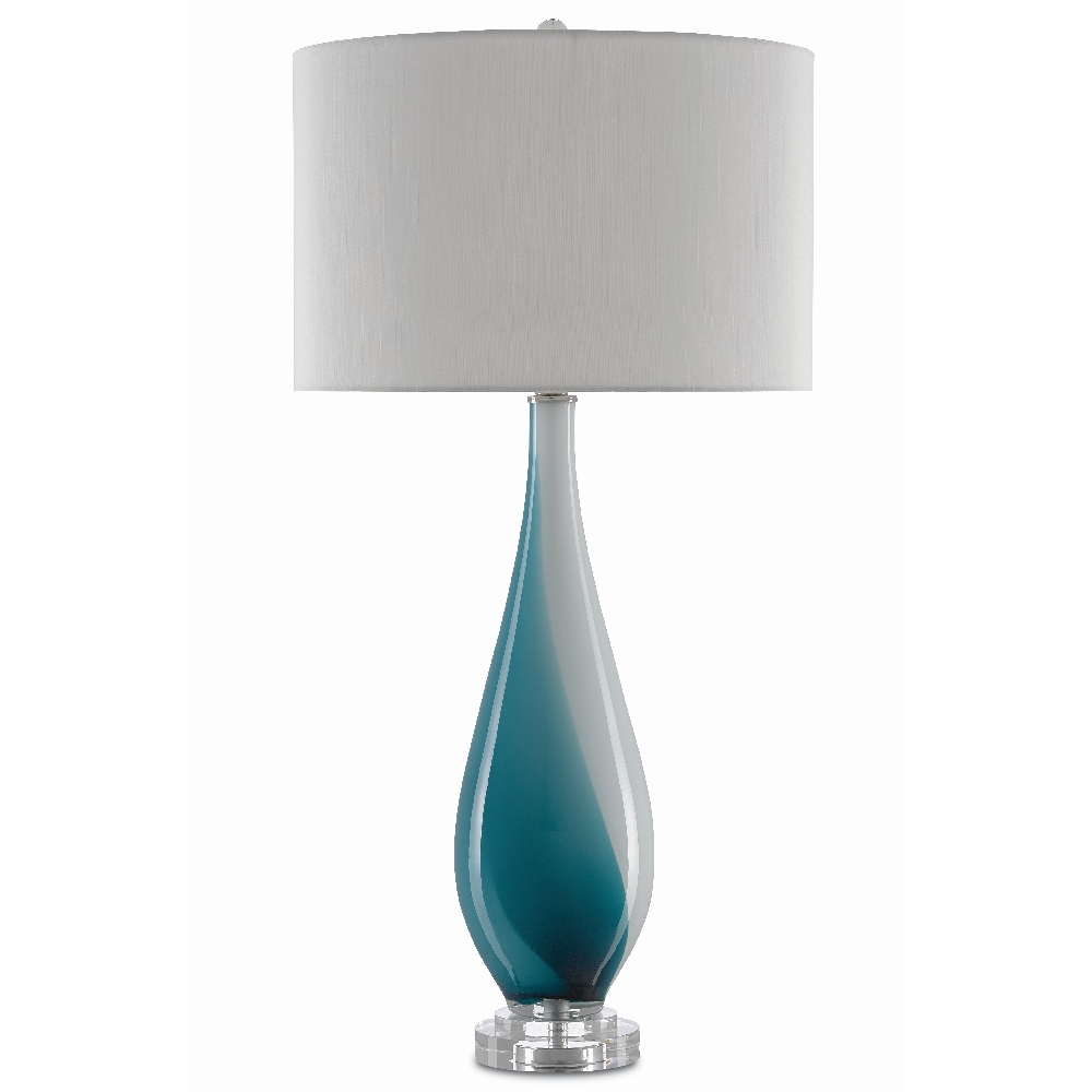 Currey & Company Lighting Patsi Table Lamp 6000-0372 - White/Turquoise/Clear/Polished Nickel