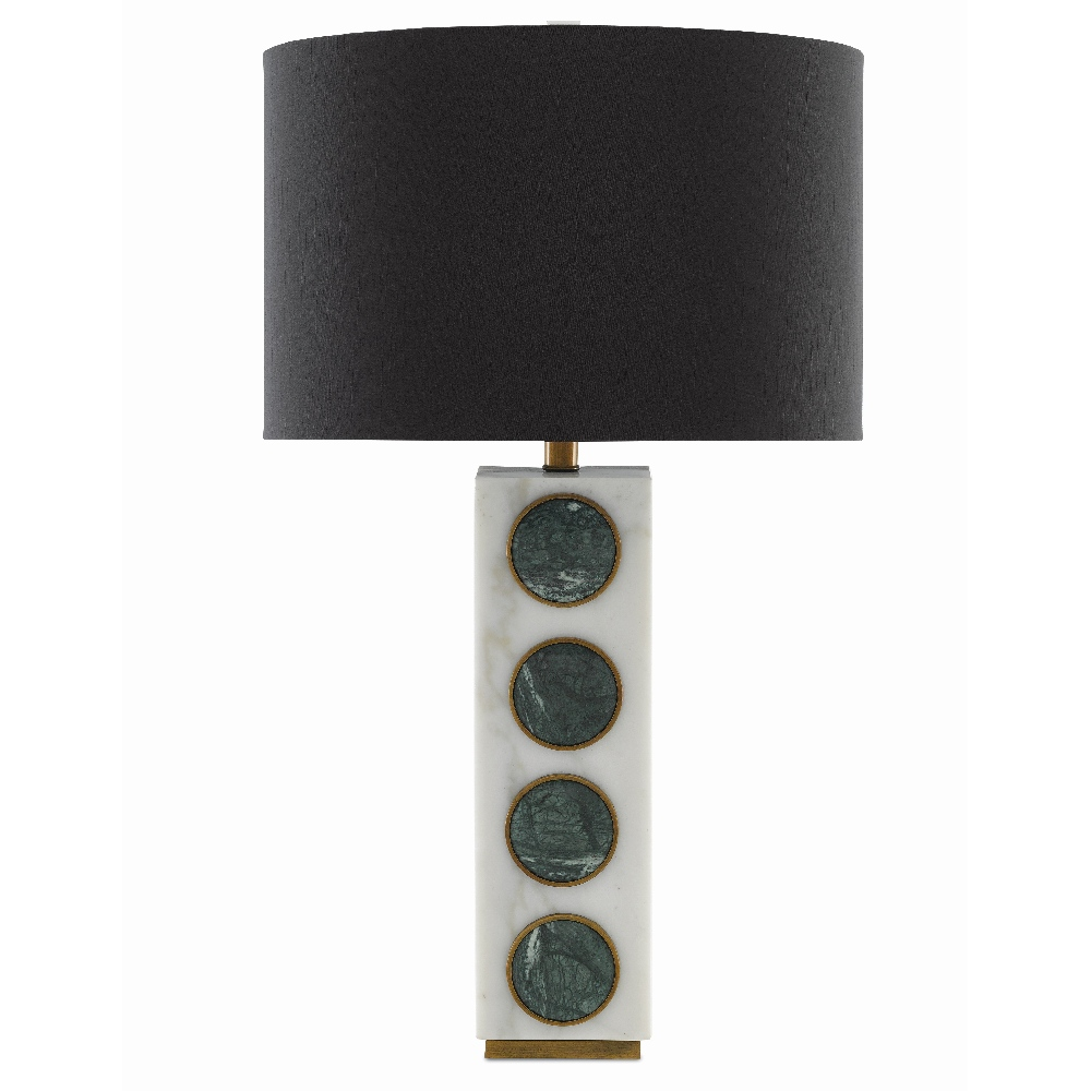 Currey & Company Lighting Petia Table Lamp 6000-0387 - White/Green/Antique Brass