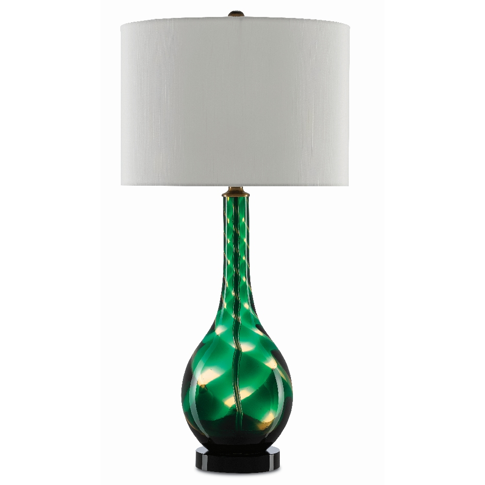 Currey & Company Lighting Pinnate Table Lamp 6000-0374 - Emerald/Clear/Antique Brass