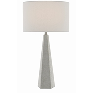 Currey & Company Lighting Primordial Table Lamp 6000-0390 - Antique White Shagreen/Polished Nickel