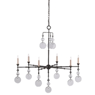 Currey & Company Lighting Santos Chandelier 9000-0396 - Old Iron/Recycled Glass