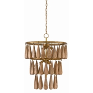 Currey & Company Lighting Savoiardi Chandelier 9000-0406 - Vintage Brass/Natural