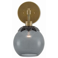 Currey & Company Lighting Sozanni Wall Sconce 5000-0116 - Antique Brass/Smoky Glass