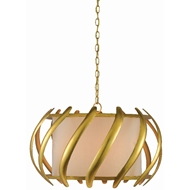 Currey & Company Lighting Trephine Drum Chandelier 9000-0380 - Contemporary Gold Leaf/Painted Gold