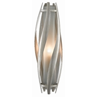 Currey & Company Lighting Trephine Silver Wall Sconce 5000-0107 - Contemporary Silver Leaf/Frosted Glass