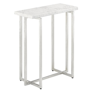 Currey & Company Home Cora Accent Table 4000-0070 - Silver Leaf/White