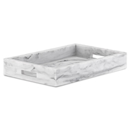 Currey & Company Home Imani Rectangular Tray 1200-0055 - Faux White Marble
