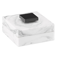 Currey & Company Home Imani Small Box 1200-0056 - Faux White Marble/Glossy Black
