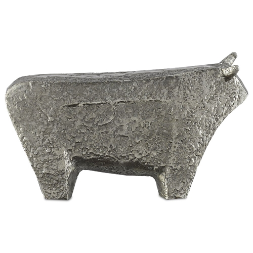 Currey & Company Home Sampson Silver Small Bull 1200-0080 - Textured Silver