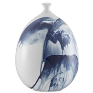 Currey & Company Home Tora Large Vase 1200-0070 - White/Blue