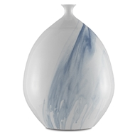 Currey & Company Home Tora Small Vase 1200-0069 - White/Blue