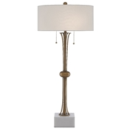 Currey & Company Lighting Abacus Table Lamp 6000-0447 - Antique Brass/White
