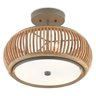 Currey & Company Lighting Africa Semi-Flush 9000-0468 - Hiroshi Gray/Natural