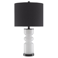 Currey & Company Lighting Anabelle Table Lamp 6000-0477 - White/Glossy Black